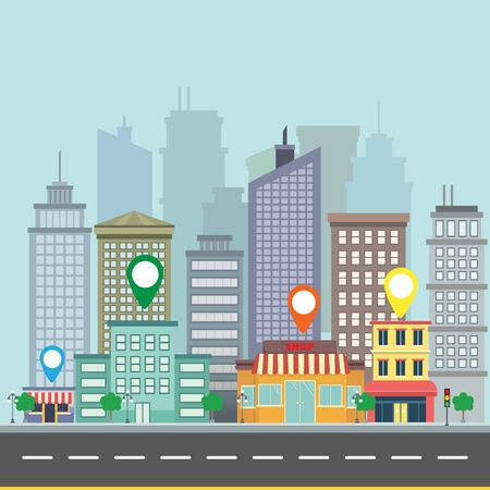 graphic icon: City web banner navigation. Map pin on city street Illustration