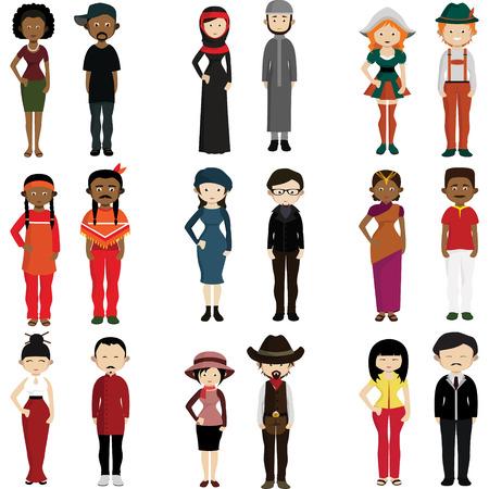 Menschen verschiedener Nationen gekleidet in Trachten. Vektorgrafik