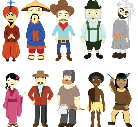 bulgarian: People in national dress. National clothes. Vector illustration.