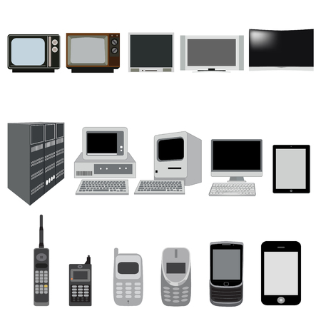 cordless phone: Phone, TV and computer evolution vector icons Illustration