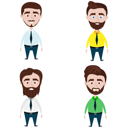 Man faces with different kind of beards. Flat style vector