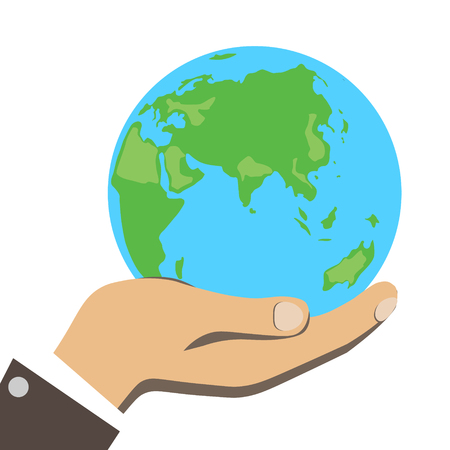 science symbols metaphors: Men hand is holding small earth