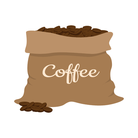 Coffee beans in a bag, vector illustration