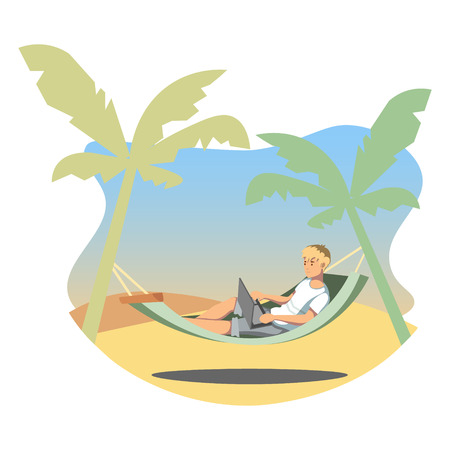 Freelance lifestyle. Man working on tropical island. Illustration