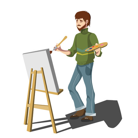 Artist painter flat design. Isolated on white background
