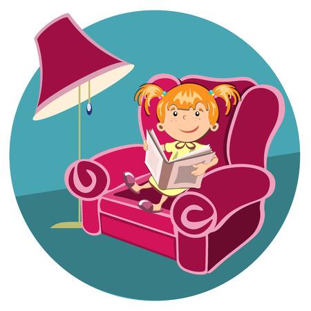Little girl reading a book in an armchair.