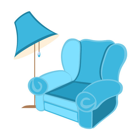 Cozy chair with a floor lamp. Stock Illustratie