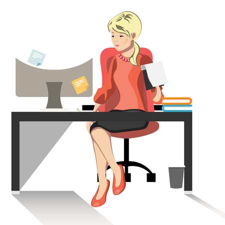 Business woman or a clerk working at her office desk.