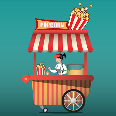 Popcorn cart carnival store and fun festival popcorn cart. 矢量图像