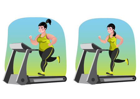 jog: Simple cartoon of a woman jogging, before and after exercise concept