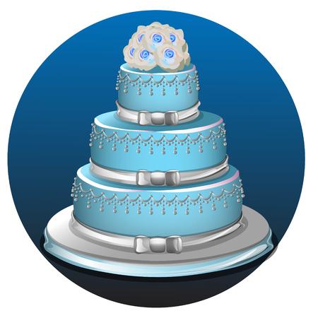 tier: Realistic three tier light blue wedding cake and decoration on silver platter vector illustration