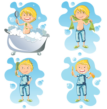 Illustration of a person doing hygiene.
