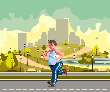 sweaty: Man running in the park and sweating to lose weight
