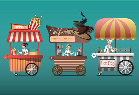 dessert buffet: Street coffee cart, popcorn and hotdog shop with sellers. Illustration