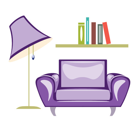 The armchair and floor lamp vector