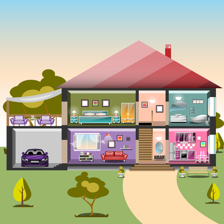 House in cut. Detailed modern interior inside house Ilustrace