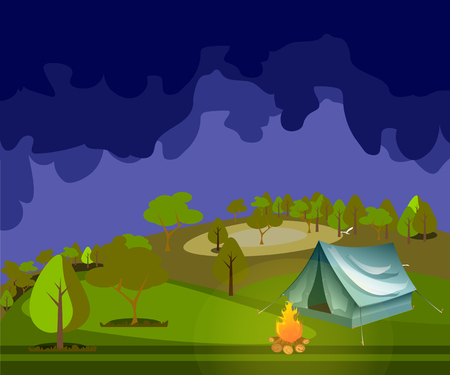 Camping in Forest at Night.