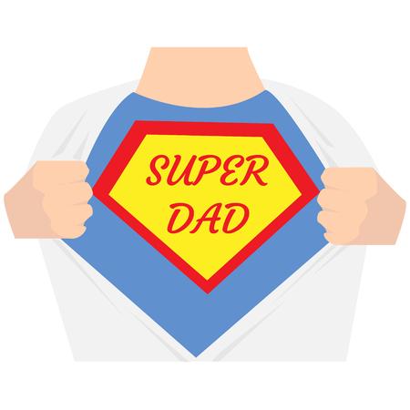 男人打开衬衫。爸爸超级英雄