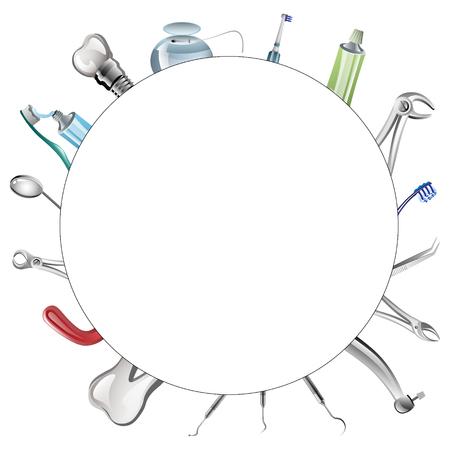 illustration of set of realistic dental tools Illustration