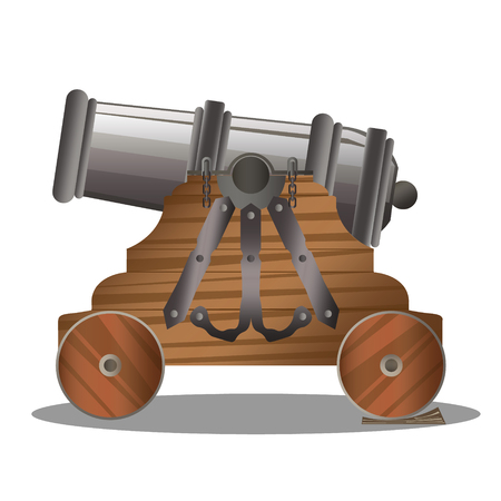 Old ship cannon with wooden carriage and black metal barrel Illustration