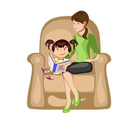 Little girl reading a book with mother in armchair.