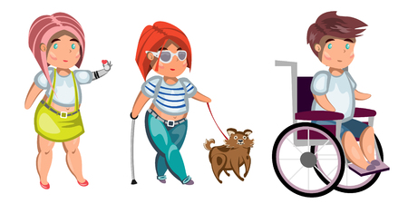 Disabled people isolated Illustration