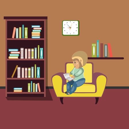 modern living room: Woman reading book on chair at home.
