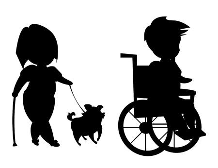 Silhouette of disabled people Ilustração Vetorial