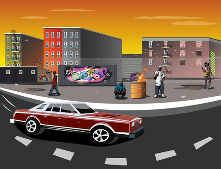 Illustration of a Ghetto with black people