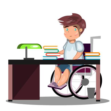 Gehandicapte jonge man in rolstoel werken Stock Illustratie