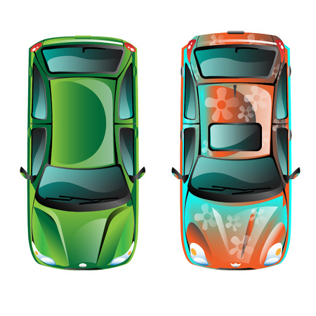 hatchback: Two car top view Illustration