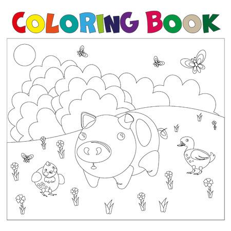 Cordero De Pascua En El Prado. Página De Colores Ilustraciones ...