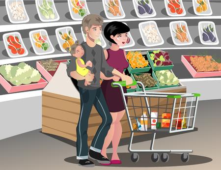 mujer en el supermercado: Familia en el supermercado. Vectores