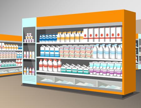 mujer en el supermercado: Milk products shelf in the store.