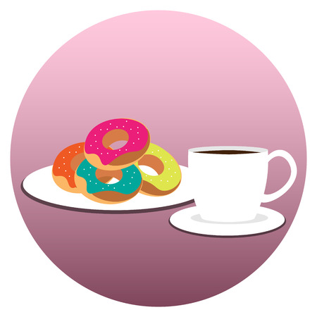 Coffee cup with donuts on plate