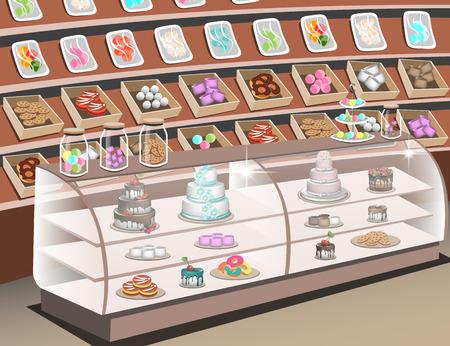mujer en el supermercado: Estantes con dulces en la tienda