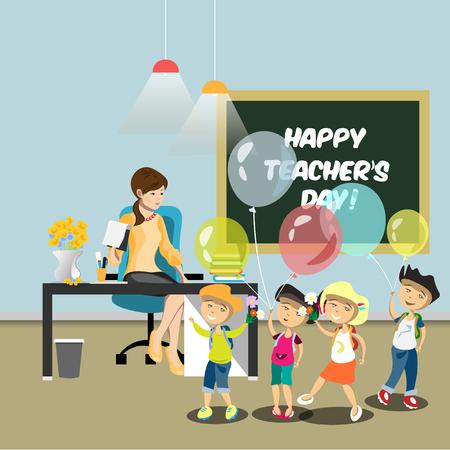 happy woman: Children congratulate the teacher in the classroom. Illustration