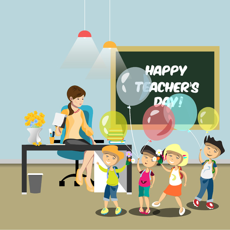 Children congratulate the teacher in the classroom. Illustration