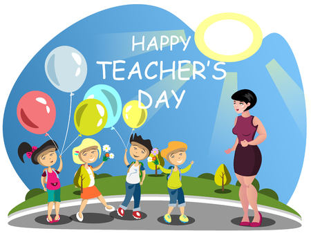 national women of color day: Children congratulates the teacher on flowers. Vector illustration Illustration