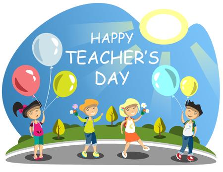Teacher s Day Group of children giving flowers Balloons