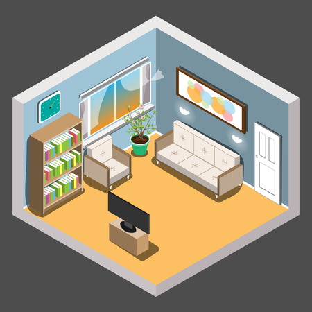 office furniture: Isometric living room
