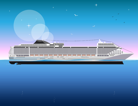 Cruise Ship vector Illustration.