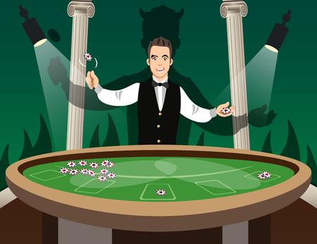 croupier: Croupier Behind Roulette Table.