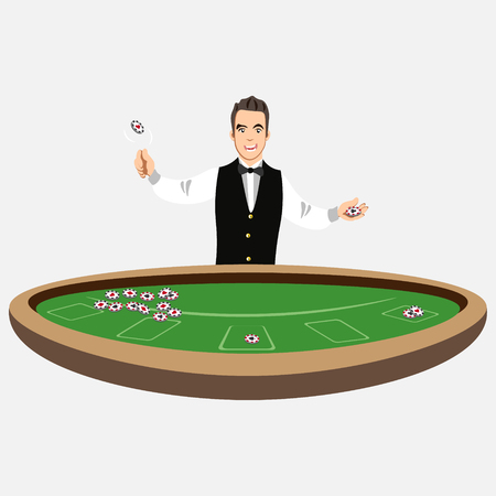 Casino croupier with poker chips
