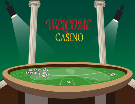 Casino golden banner Welcome with lamp. Illustration