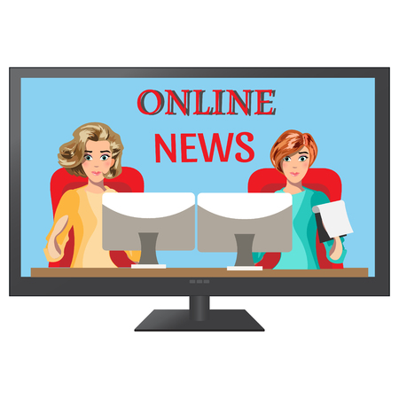 Girls leading news on TV.