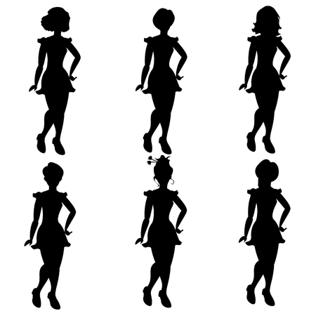 Silhouettes of women in different hair Ilustração