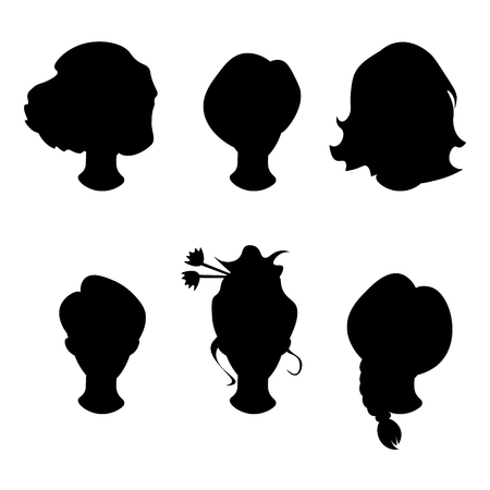black wigs: Hairstyle silhouette.Woman,girl,female hair.
