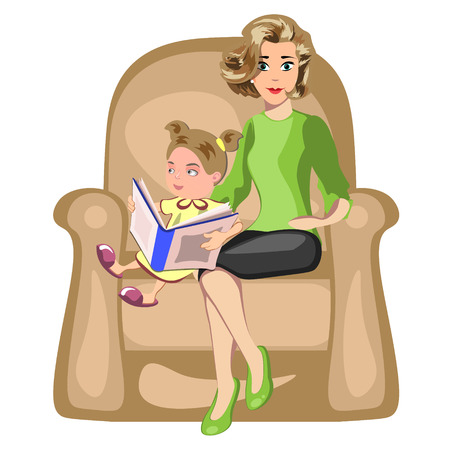 storybook: Young mother reading book to her daughter Illustration