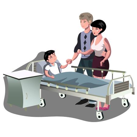 El niño está acostado en la cama en el hospital